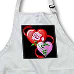 click on Red and pink hearts, red ribbon, large pink rose with rosebud design on light background to enlarge!