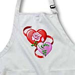 click on Red and pink hearts, red ribbon, large pink rose with rosebud design on dark background to enlarge!