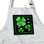 click on A pretty shamrock clover design on a dark background with little silvery white butterflies to enlarge!