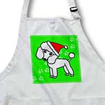 click on Cute White Poodle Green Paw Background with Santa Hat to enlarge!