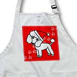 click on Cute White Poodle Red Paw Background with Santa Hat to enlarge!