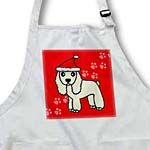 click on Cute Buff Cocker Spaniel Red Paw Background with Santa Hat to enlarge!
