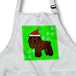 click on Cute Chocolate Cocker Spaniel Green Paw Background with Santa Hat to enlarge!
