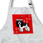 click on Cute Black and White Spaniel Red Paw Background with Santa Hat to enlarge!