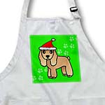 click on Cute Tan Cocker Spaniel Green Paw Background with Santa Hat to enlarge!