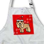 click on Cute Tan Spaniel Red Paw Background with Santa Hat to enlarge!