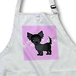 click on Cute Black Longhaired Chihuahua Pink with Pawprints to enlarge!