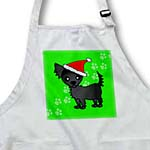 click on Cute Black Longhaired Chihuahua Green with Santa Hat to enlarge!