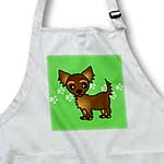 click on Cute Chocolate Brown Longhaired Chihuahua Green with Pawprints to enlarge!