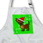 click on Cute Chocolate Brown Longhaired Chihuahua Green with Santa Hat to enlarge!