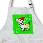 click on Cute Cream Tan Longhaired Chihuahua Green with Santa Hat to enlarge!