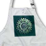 click on Green and aqua floral mandala on deep teal green damask background to enlarge!