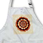 click on Gold and chocolate fantasy mandala flower on peach grunge damask to enlarge!