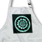 click on Aqua and teal green fantasy mandala flower on deep green background to enlarge!