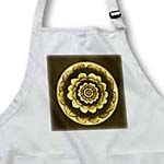 click on Sepia and gold fantasy mandala flower on dark brown background to enlarge!