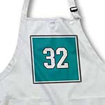 click on Number 32 in white trimmed in black on teal green background. Outer trim is white and black. to enlarge!