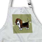 click on Cute Basset Hound  - Cartoon Dog - Green with Pawprints to enlarge!