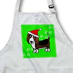 click on Cute Basset Hound - Cartoon Dog - Green with Santa Hat to enlarge!