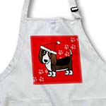 click on Cute Basset Hound - Cartoon Dog - Red with Santa Hat to enlarge!