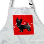 click on Cute Black Scottie - Cartoon Dog - Red with Pawprints to enlarge!