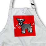 click on Cute Miniature Schnauzer Banded Coat (Salt and Pepper) - Cartoon Dog - Red with Pawprints to enlarge!