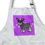 click on Cute Miniature Schnauzer Banded Coat (Salt and Pepper) - Cartoon Dog - Purple with Pawprints to enlarge!