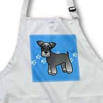 click on Cute Miniature Schnauzer Banded Coat (Salt and Pepper) - Cartoon Dog - Blue with Pawprints to enlarge!