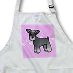 click on Cute Miniature Schnauzer Banded Coat (Salt and Pepper) - Cartoon Dog - Pink with Pawprints to enlarge!