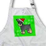 click on Miniature Schnauzer Banded Brown Base Coat (Salt and Pepper) - Cartoon Dog - Red with Santa Hat to enlarge!