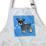 click on Miniature Schnauzer Banded Brown Base Coat (Salt and Pepper) - Cartoon Dog - Blue with Pawprints to enlarge!