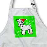 click on Cute Miniature Schnauzer Wheaten Coat - Cartoon Dog - Red with Santa Hat to enlarge!