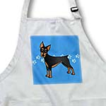 click on Cute Doberman Pinscher Black Coat - Cartoon Dog - Blue with Pawprints to enlarge!