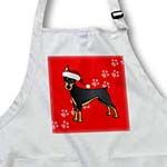 click on Cute Doberman Pinscher Black Coat - Cartoon Dog - Red with Santa Hat to enlarge!