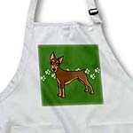 click on Cute Doberman Pinscher Red Coat - Cartoon Dog - Green with Pawprints to enlarge!