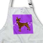 click on Cute Doberman Pinscher Red Coat - Cartoon Dog - Purple with Pawprints to enlarge!