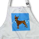 click on Cute Doberman Pinscher Red Coat - Cartoon Dog - Blue with Pawprints to enlarge!