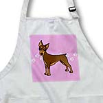 click on Cute Doberman Pinscher Red Coat - Cartoon Dog - Pink with Pawprints to enlarge!