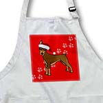 click on Cute Doberman Pinscher Red Coat - Cartoon Dog - Red with Santa Hat to enlarge!