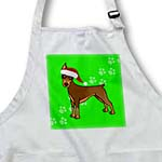 click on Cute Doberman Pinscher Red Coat - Cartoon Dog - Green with Santa Hat to enlarge!