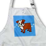 click on Cute Bulldog Red and White Coat - Cartoon Dog - Blue with Pawprints to enlarge!