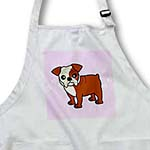 click on Cute Bulldog Red and White Coat - Cartoon Dog - Pink with Pawprints to enlarge!