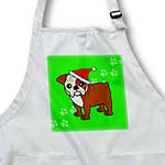 click on Cute Bulldog Red and White Coat - Cartoon Dog - Green with Santa Hat to enlarge!