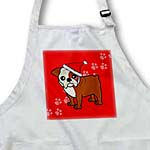 click on Cute Bulldog Red and White Coat - Cartoon Dog - Red with Santa Hat to enlarge!