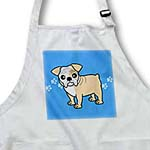 click on Cute Bulldog Fawn and White Coat - Cartoon Dog - Blue with Pawprints to enlarge!