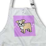 click on Cute Bulldog Fawn and White Coat - Cartoon Dog - Purple with Pawprints to enlarge!