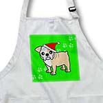 click on Cute Bulldog Fawn and White Coat - Cartoon Dog - Green with Santa Hat to enlarge!