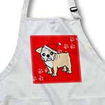 click on Cute Bulldog Fawn and White Coat - Cartoon Dog - Red with Santa Hat to enlarge!