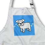 click on Cute Bulldog White Coat - Cartoon Dog - Blue with Pawprints to enlarge!