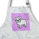 click on Cute Bulldog White Coat - Cartoon Dog - Purple with Pawprints to enlarge!