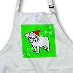 click on Cute Bulldog White Coat - Cartoon Dog - Green with Santa Hat to enlarge!